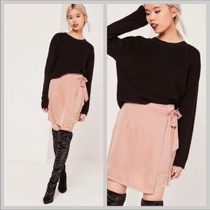 Missguided Satin Asymmetrical Wrap Lace Skirt